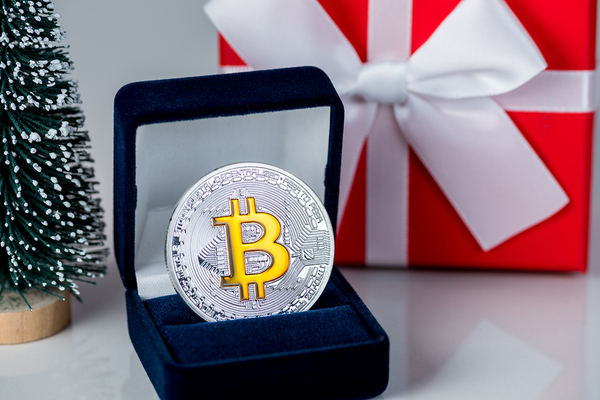 Silver coin with bold bitcoin symbol.