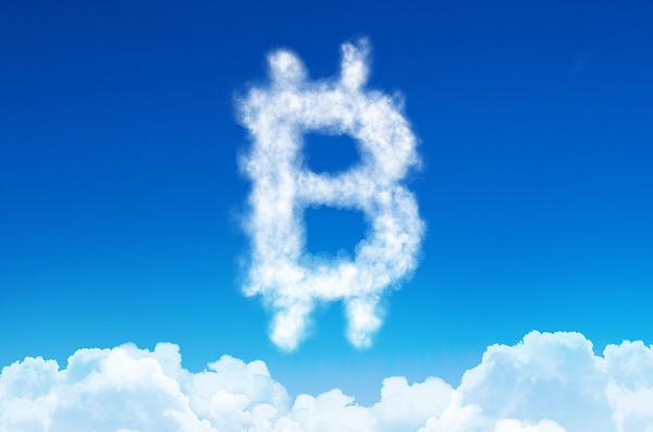 Bitcoin symbol created with clouds.