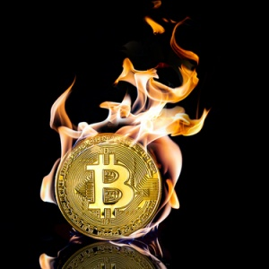 Bitcoin coin on fire.